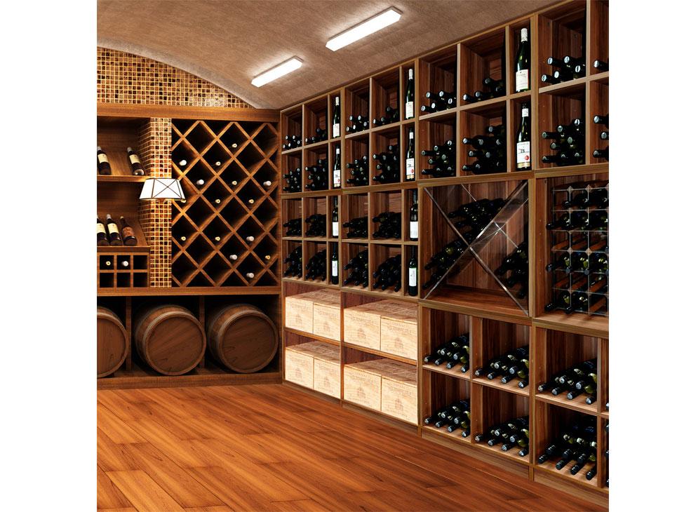 Scaffale in legno bottiglie vino fc a modulare per